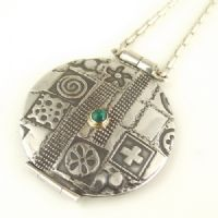 Round stencilled decision maker pendant